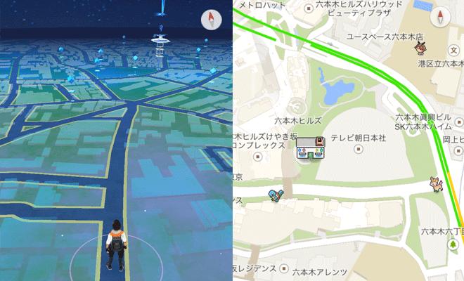 ポケモンGoのマップとポケモンチャレンジのマップ